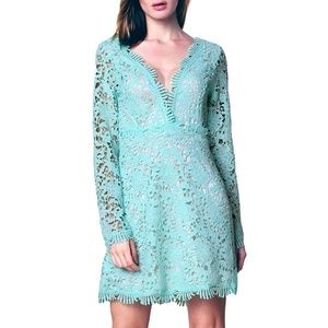 Dresses & Skirts - Plunged Front Empire Waist Lace Dress Aqua Size S